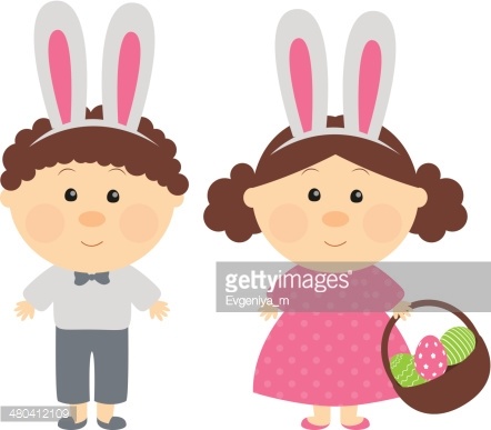 Easter kids with with rabbit-like ears