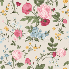 Seamless vector pattern with Victorian bouquet