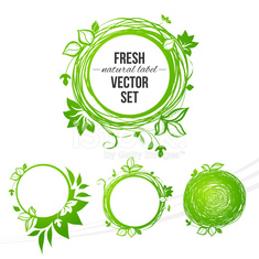 Fresh green circle label (with place for your text)