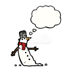 snowman with thought bubble cartoon