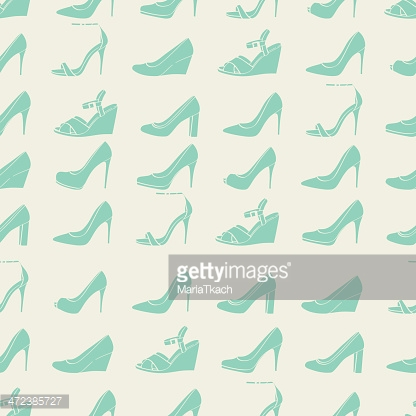 Seamless lady's shoes light pattern. Green and beige colors.