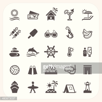 Summer holiday icons set