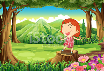 smiling little girl standing above the stump