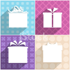Set of four icons of gift boxes with different backgrounds.
