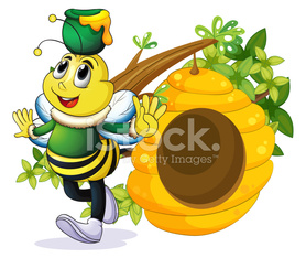 bee with a pot above its head near the beehive