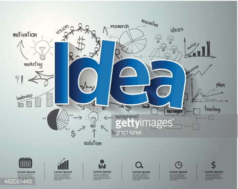 Idea text, With creative drawing charts and graphs business success