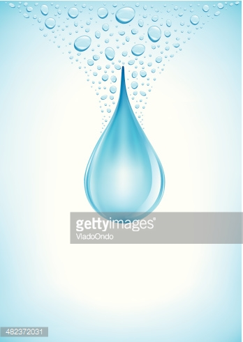 big falling water drop on blue background