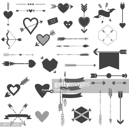 Hearts and Arrows Set - for Valentine's Day, Wedding, Design