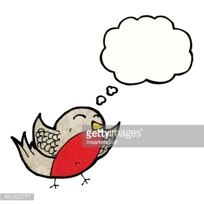 cartoon robin with thought bubble