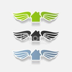 realistic design element: house, building, wing