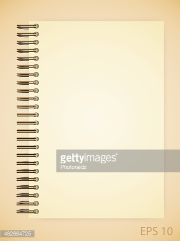 Open notebook with white page on wooden background