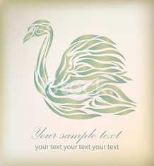 Vintage floral swan on background vector