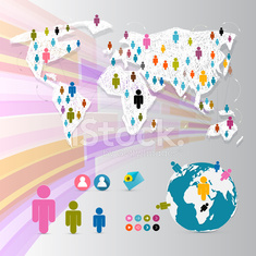 Vector People on Paper World Map