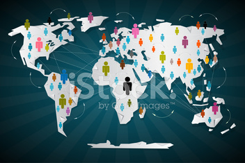 Colorful Vector People Icons on World Map