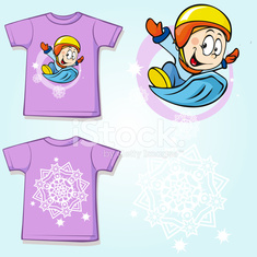 kid shirt with winter sportsmen on sled printed
