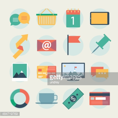 Modern flat icons vector collection, web design objects, business, office