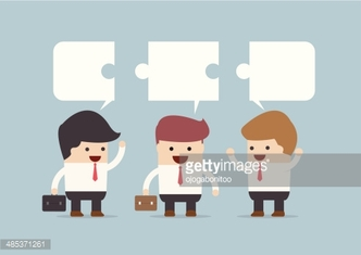 Businessman in conversation, Group of businessman with jigsaw text box