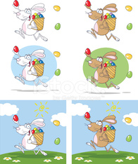Collection of Colorful Easter Rabbit Running