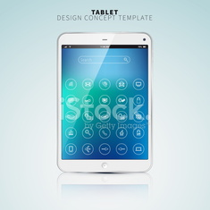 Realistic Tablet PC With color Screen and UI flat icons