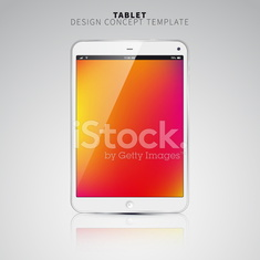 Realistic Tablet PC With color Screen. Vertical, White.