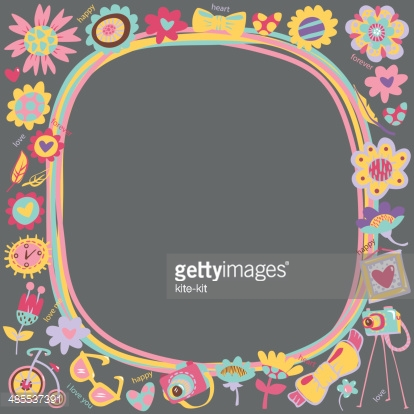 Flower Love cute frame with fashionable things. Dark background.