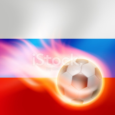 Burning football on Russia flag background