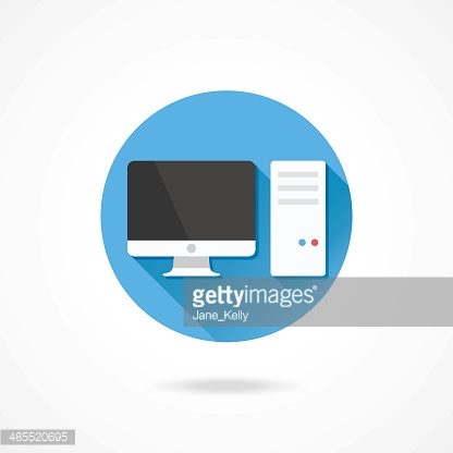 Vector Computer System Unit and Monitor Icon