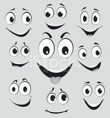 Facial expressions, cartoon face emotions