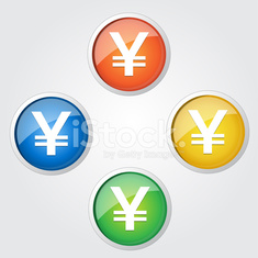 Glossy Yen Sign Button Icon