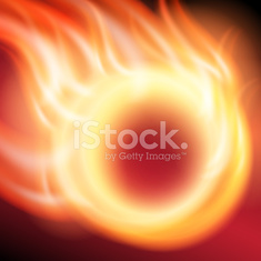 Abstract background with flames and fiery sphere