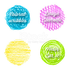 Hand drawn colorful round shapes.