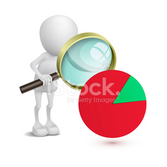 3d man with financial pie chart