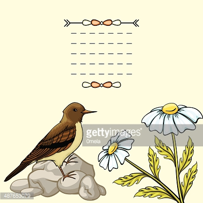 Vintage background with cartoon flowers and bird