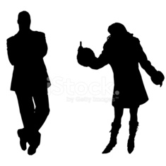 Vector silhouettes man and women.