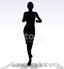 Active Jogging Girl or Woman Silhouette