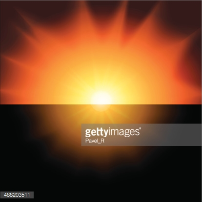 red sunset on a black background vector