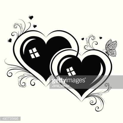 Silhouettes of hearts