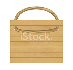 wooden desk with rope for hanging on white background