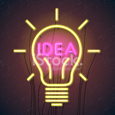 Concept of successful idea inspired by bulb shape