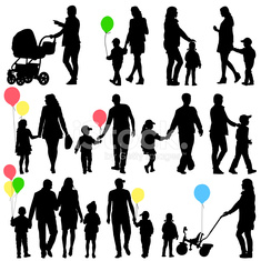 set of silhouettes of parents and children
