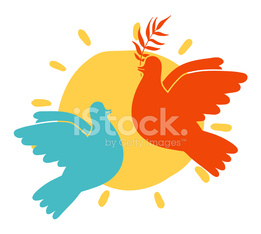 Peace doves and sun