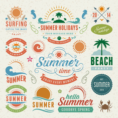 Summer holidays design elements and typography design