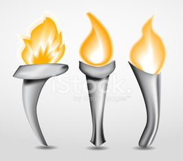 Abstract torch with flame