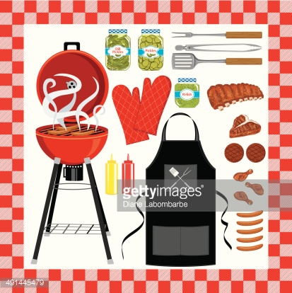 BBQ Grilling Set With Seamless Check Pattern