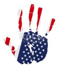 Handprints with american flag