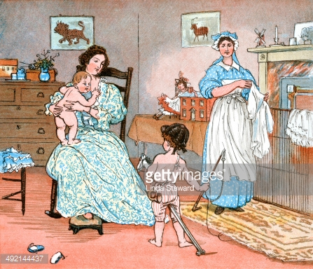 Mother, children and nursemaid in the nursery
