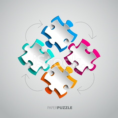 Four colorful Paper puzzle on white background