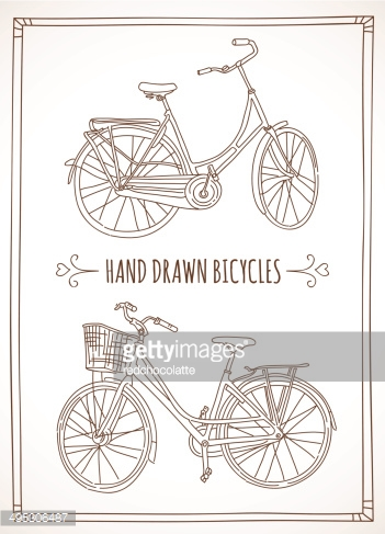 Vector hand drawn sketch bicycles with basket