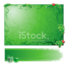 Xmas Background and Banner set : GREEN