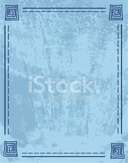 Blue Textured Grunge with Lineart Design Frame Border